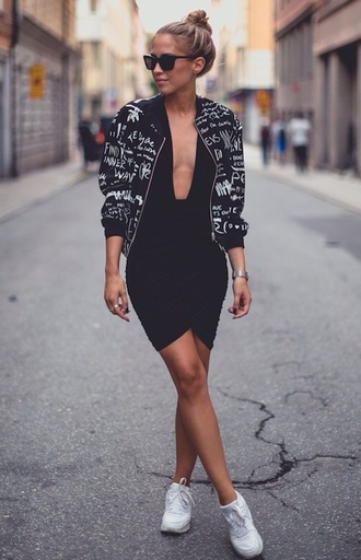 jacket printed jacket black bodycon dress low cut dress chic backless dress deep v dress mini dress dress fashion style black and white bodycon dress white sneakers