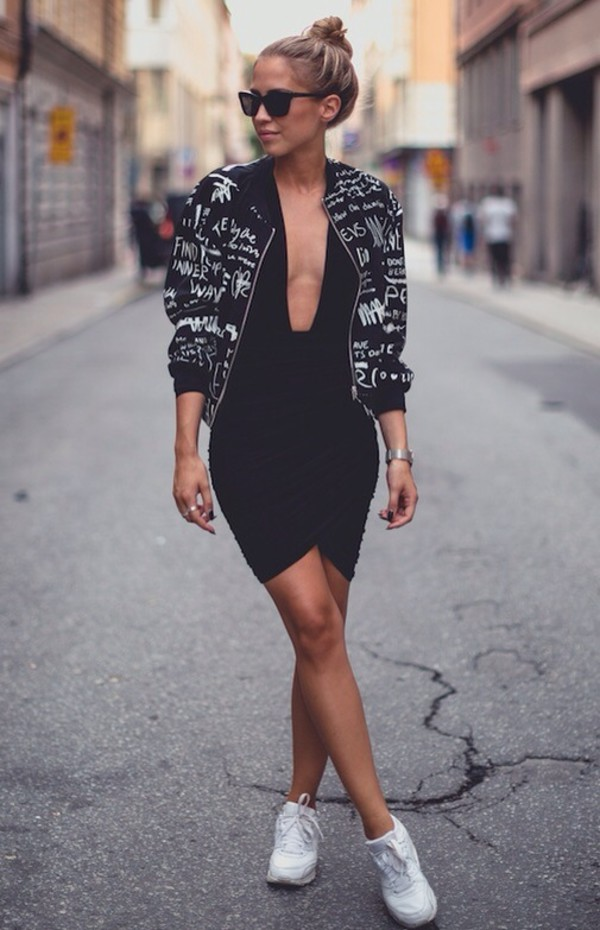 jacket printed jacket black bodycon dress low cut dress chic backless dress deep v dress mini dress dress fashion style black and white bodycon dress white sneakers coat sneakers black dress little black dress black jacket letters