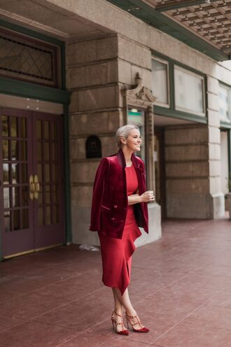 the courtney kerr blogger dress jacket shoes jewels red dress midi dress red jacket blazer high heel pumps red heels valentino rockstud