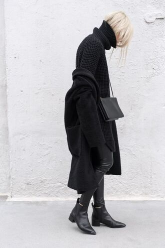 coat ankle boots black boots black coat black sweater college all black everything skinny pants leather pants black leather pants pointed boots turtleneck oversized turtleneck sweater heavy knit jumper minimalist fall outfits office outfits blogger