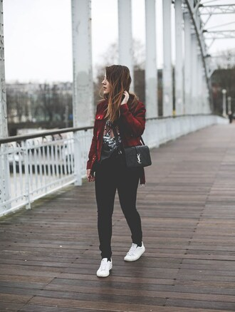 elodie in paris blogger jacket top shoes bag sneakers red jacket ysl bag spring outfits