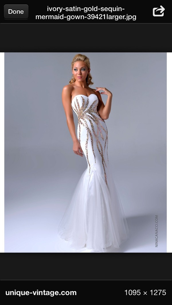 dress white mermaid prom