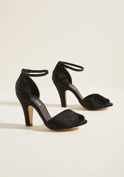 lola black heels ankle strap fabulous scene luxury heels leather black velvet shoes