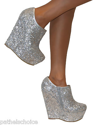 KOI COUTURE SILVER SEQUIN GLITTERY SPARKLY PLATFORM HIGH WEDGE SHOE BOOTS