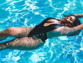 swimwear one piece swimsuit deep plunge plus size swimwear plus size black bodycon