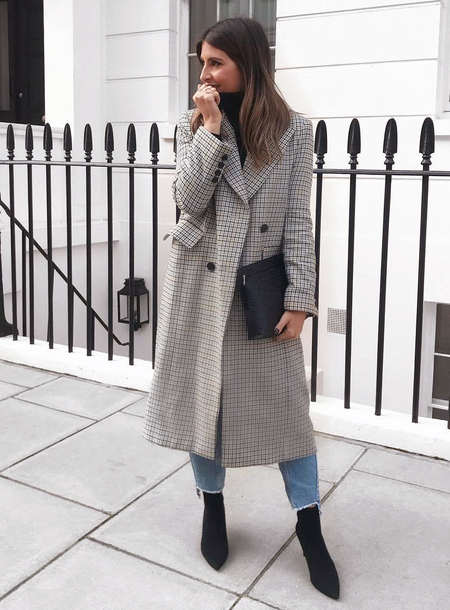 coat tumblr grey coat long coat grey long coat bag black bag pouch boots black boots