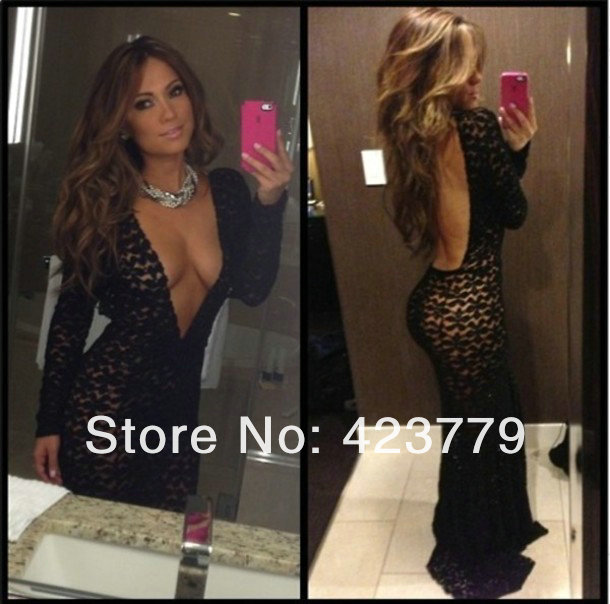 d7e1e1a13df Aliexpress.com   Buy Fashion Slim Deep V neck Black Lace Prom Dresses Long  Sexy Backless Long Sleeve ...
