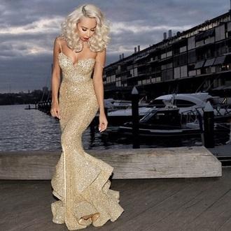 dress gold sequins sexy dress long evening dress