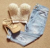 top,creme,white,pearl,bustier,crop tops