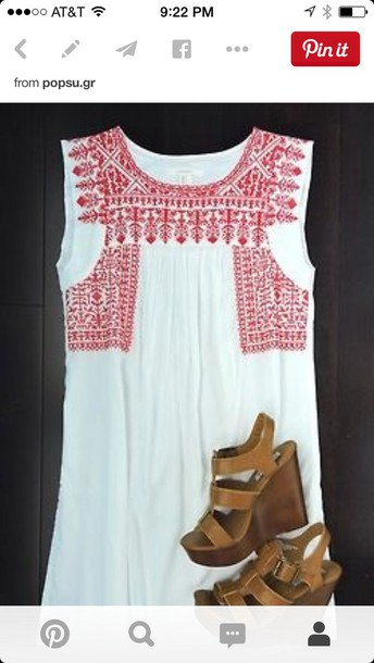 dress white red embroidered dress