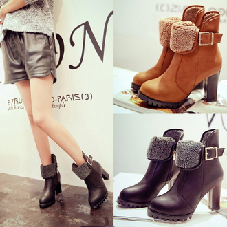 shoes fashion wool high-heeled boots warm fall outfits cozy buckles trendy high heels casual winter outfits