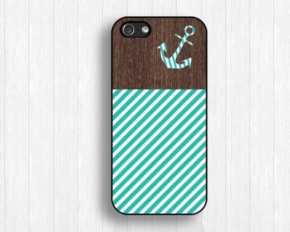 jewels iphone case wood phone case anchor blue stripes