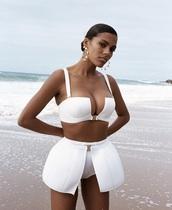 underwear,swimwear,set,two piece dress set,bikini,white,white swimwear,white underwear set,white bikini,skirt,cut-out,top,sleeveless top