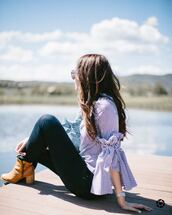 top,tumblr,bell sleeves,gingham,stripes,striped top,denim,jeans,boots,brown boots,ankle boots,shoes