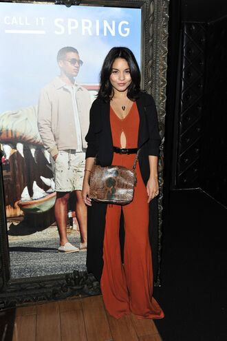 jumpsuit wide-leg pants pants vanessa hudgens cardigan purse belt