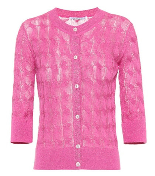 Agnona Cotton and silk-blend cardigan in pink