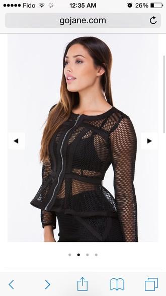 blouse black mesh jacket  top