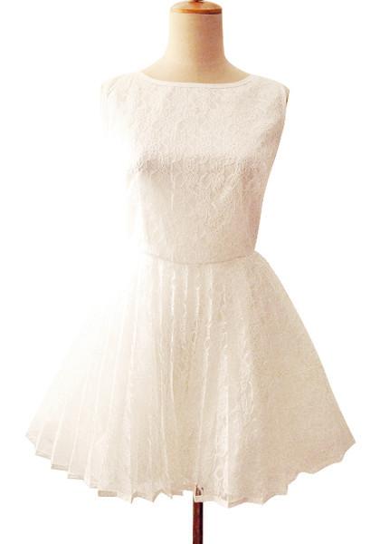 Plunge V Back Dress - White