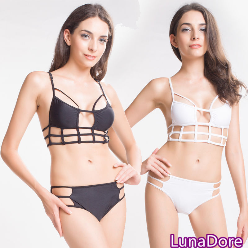 New Sexy Caged Cut Out Swimsuit Bikini Set Bathing Suit Padded Push Up Swimwear | eBay