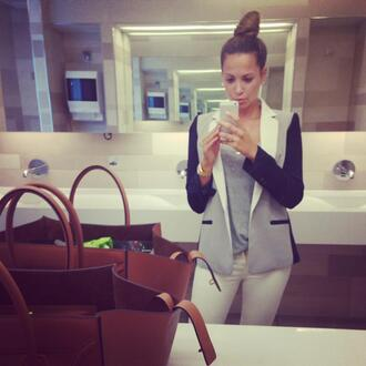 jacket blazer grey blazer mandy capristo mesut özil grey grey black grey black blazer grey jacket office outfits elegant style sleeve jacket sleeve blazer bag