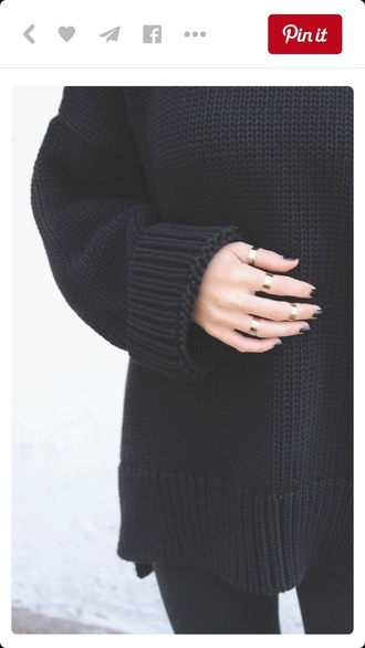 jewels rings and tings black sweater oversized oversized sweater sweater