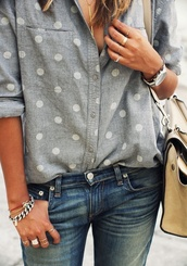 blouse,button up with polka dots,jewels,polka dot button up shirt,shirt,polka dots,grey,grey shirt,chambray shirt,button up,poka dot chambray,polka dot chambray shirt,denim,cute,points,top,shirt blouse,big pattern,white,white dots