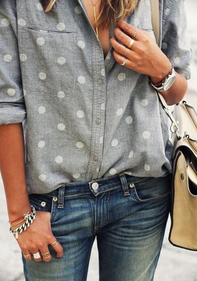 button up chambray shirt poka dot poka dot chambray blouse button up with polka dots