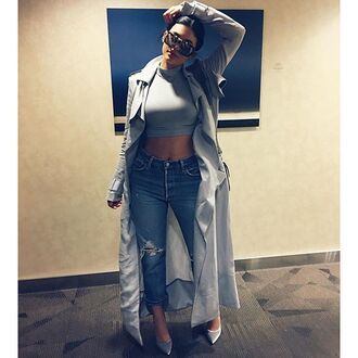 coat shoes jeans crop tops instagram fall outfits top sunglasses jacket
