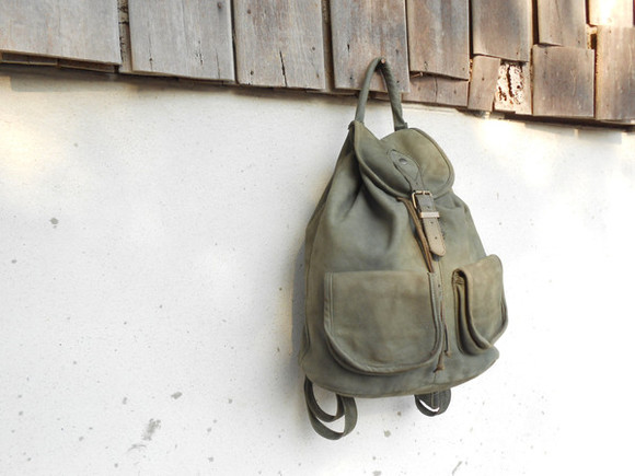 bags bag leather backpack backpack vintage vintage bag vintage leather bag green leather backpack military leather backpack girl bag tumblr girl