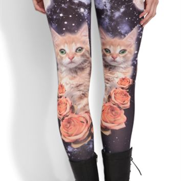 Legging with Galaxy Cat and Roses Print on Wanelo