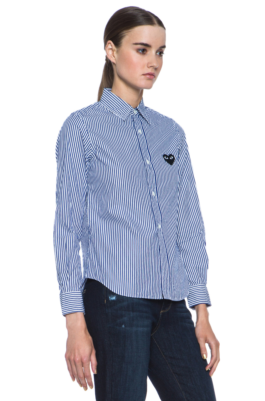 Comme Des Garcons PLAY | Cotton-Blend Stripe Black Emblem Button Down in Print
