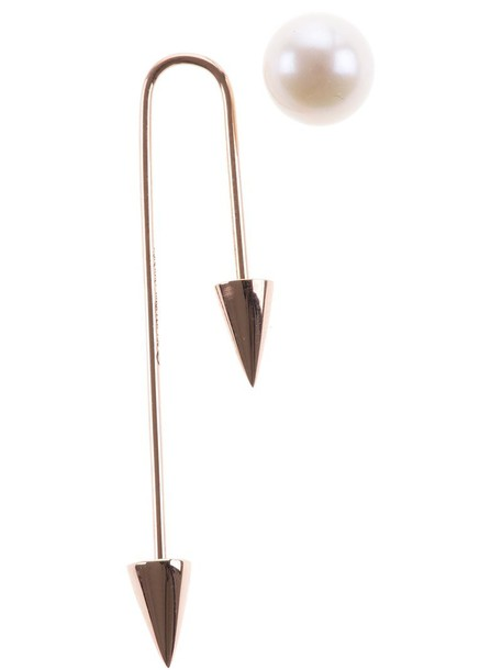 Asherali Knopfer women earrings gold grey metallic jewels
