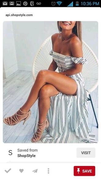 dress white and black striped dress off the shoulder