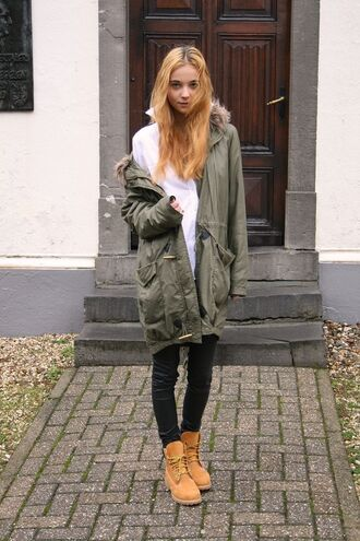 shoes white shirt army green jacket black jeans blogger timberlands
