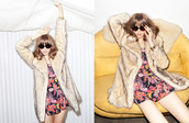 sunglasses,round sunglasses,faux fur coat,faux fur,coat,jacket,floral,dress