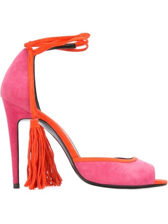 tassel women sandals leather suede purple pink shoes