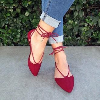 shoes oxblood burgundy flats spring summer denim ripped gojane