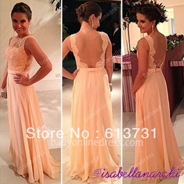 Vestidos Formales Free Shipping Best Selling Peach Long Lace Prom Dresses Chiffon A Line Nude Back Formal Evening Gowns BO3384-in Prom Dresses from Apparel & Accessories on Aliexpress.com