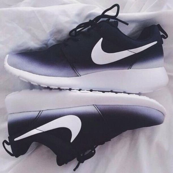 white to black ombre nike shoes