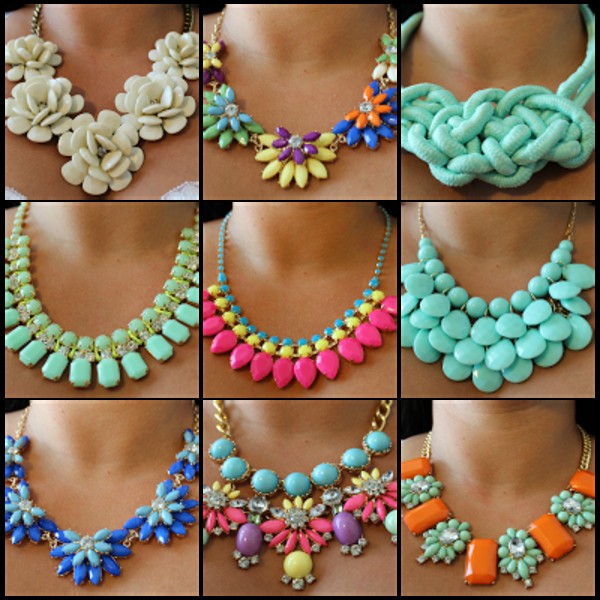 statement necklace mint cute pink floral jewels nail accessories