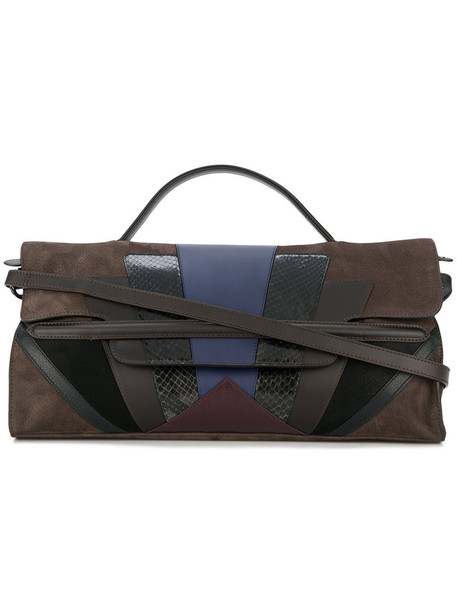 women leather suede brown bag