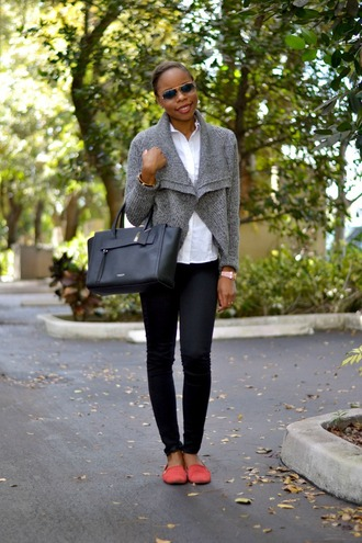 cha cha the fashion genius blogger sunglasses grey knitted cardigan white shirt flats