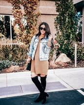 jacket,denim jacket,sweater,knitted sweater,mini dress,shoulder bag,suede boots,black boots,sunglasses