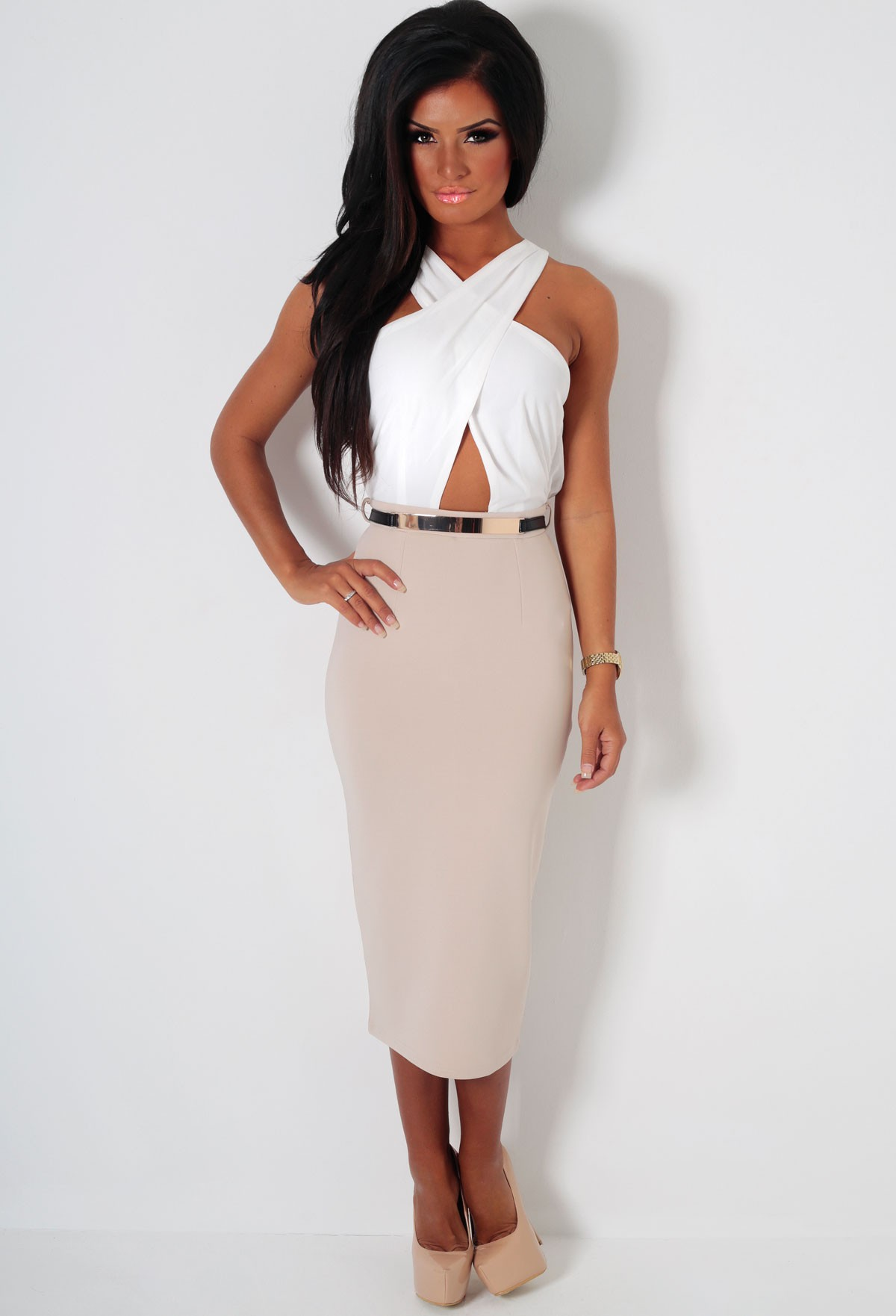 Appointment nude & white crossover midi dress