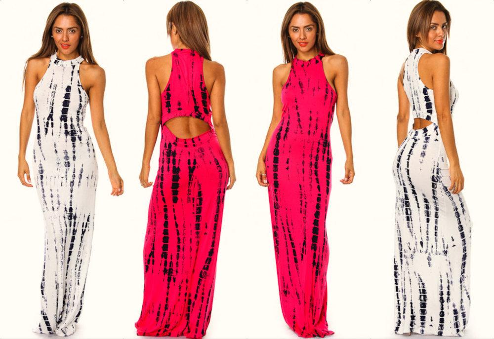 Shopaholicfashionistas — new! sexy tie dye mock neck cut out back maxi dress