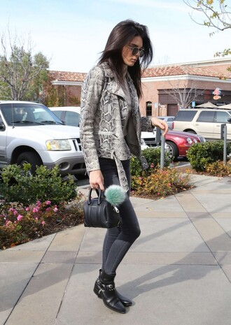 jacket animal print python kendall jenner fall outfits jeans