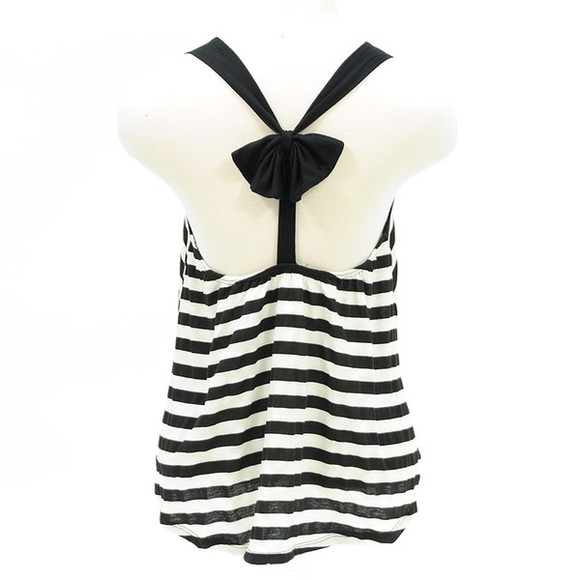 tank top top stripes striped shirt bows