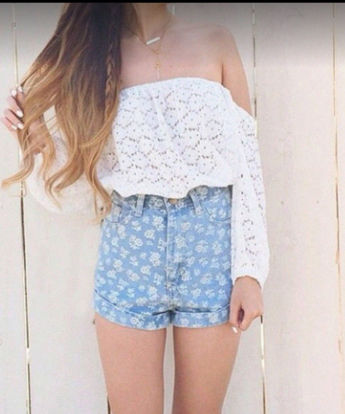 t-shirt girl white t-shirt swag vintage girly top white top short denim denim blue short denim shorts floral High waisted shorts