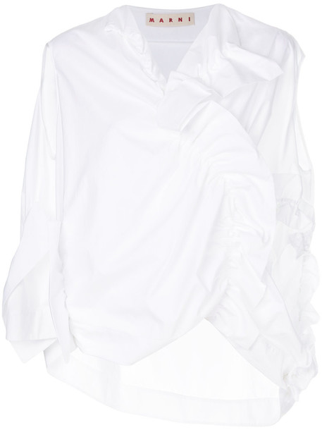 MARNI top women draped white cotton