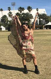 dress,coachella,festival,music festival,instagram,vanessa hudgens,boho dress,boho chic,midi dress,summer dress